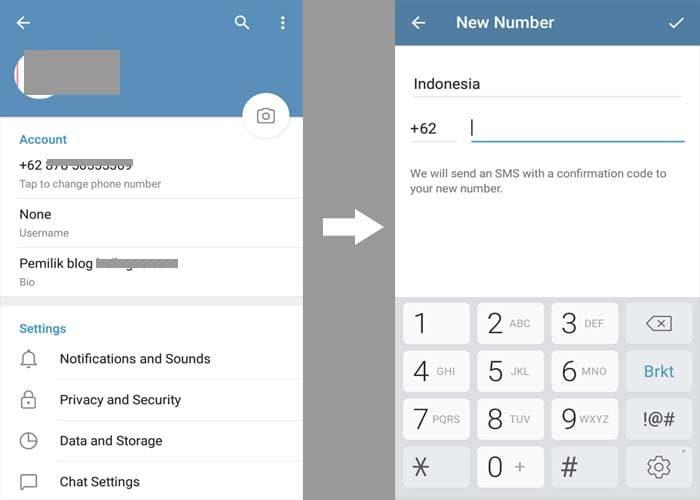 Mengubah nomor sendiri di telegram