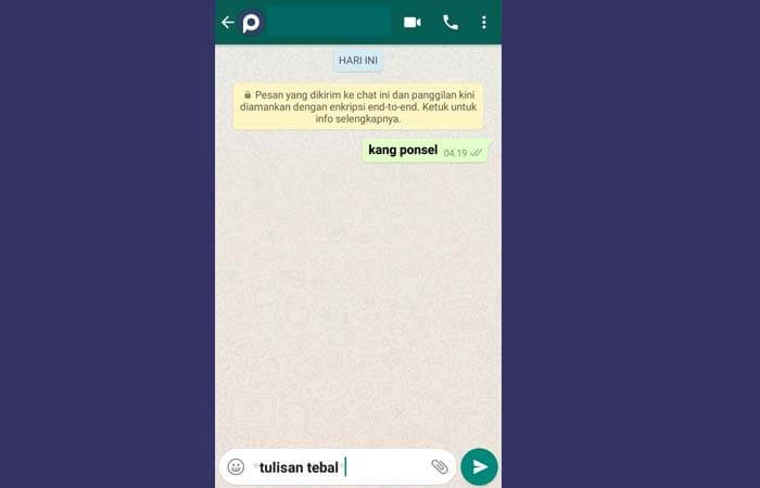 Membuat Tulisan Keren di WhatsApp