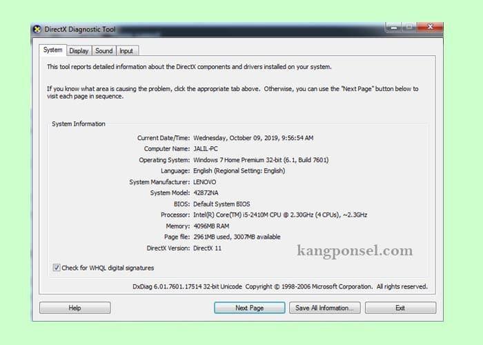 Cara Melihat Spesifikasi Laptop dan Komputer