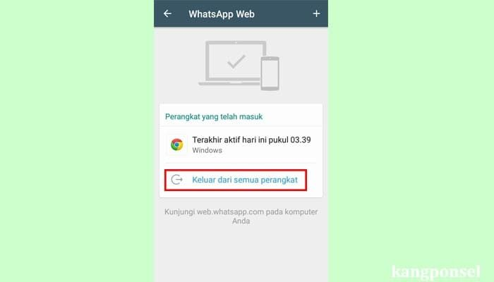 Log out whatsapp web lewat wa hp