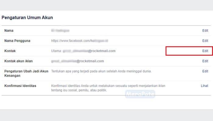cara menambahkan nomor telepon dan email facebook