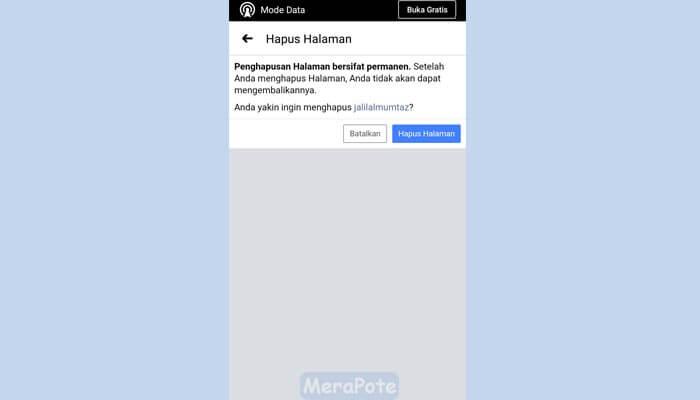hapus fanpage fb
