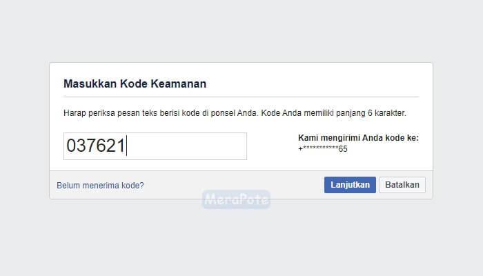 kode keamanan akun facebook