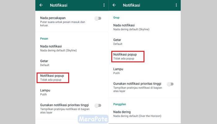 cara menghilangkan notifikasi whatsapp